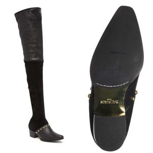 Balmain Billie Leather Thigh High Block Heel Boot